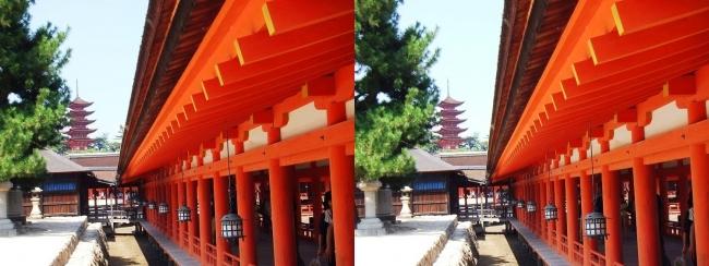 嚴島神社 西回廊 五重塔(平行法)