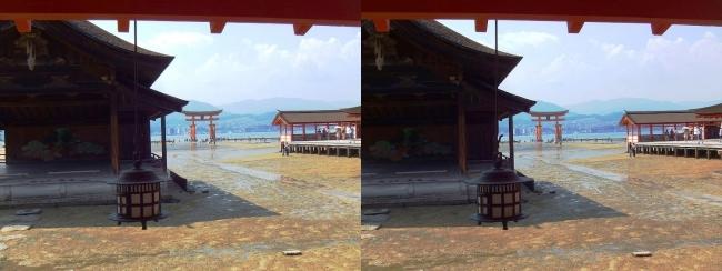 嚴島神社 西回廊 能楽屋 左楽房 大鳥居(交差法)