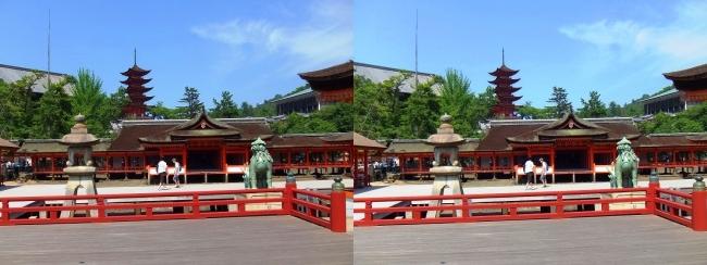嚴島神社 高舞台 摂社 客神社 大願寺五重塔(平行法)