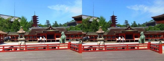 嚴島神社 高舞台 摂社 客神社 大願寺五重塔(交差法)