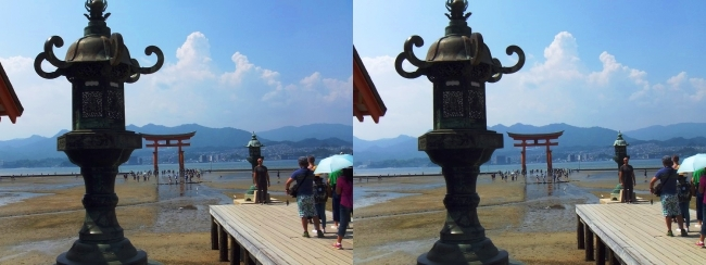 嚴島神社 平舞台 火焼前 大鳥居(平行法)