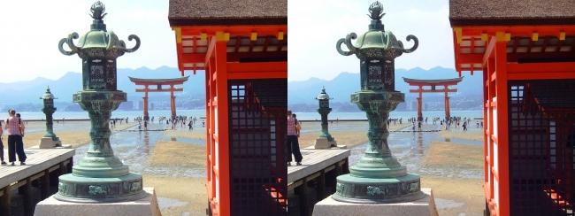 嚴島神社 右門客神社 火焼前 大鳥居(交差法)