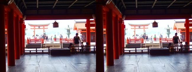 嚴島神社 本社 祓殿 高舞台 大鳥居(平行法)