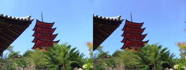 嚴島神社 五重塔(交差法)