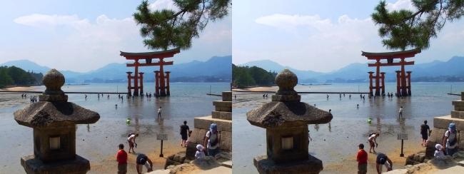 御笠浜 嚴島神社 大鳥居①(平行法)