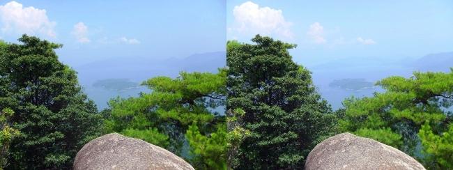 宮島ロープウェー 獅子岩展望台からの眺望②(平行法)