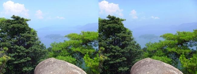 宮島ロープウェー 獅子岩展望台からの眺望②(交差法)