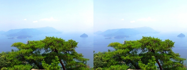 宮島ロープウェー 獅子岩展望台からの眺望①(平行法)