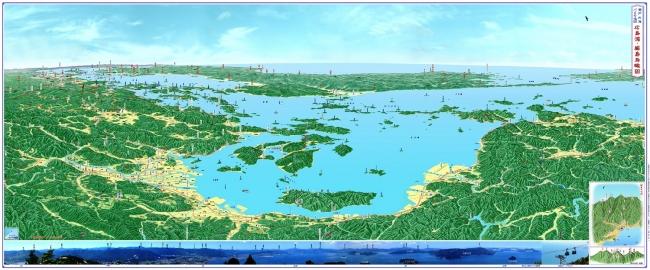 広島湾厳島鳥瞰図