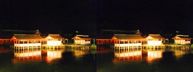 嚴島神社 夜のガイドウォーキング(平行法)