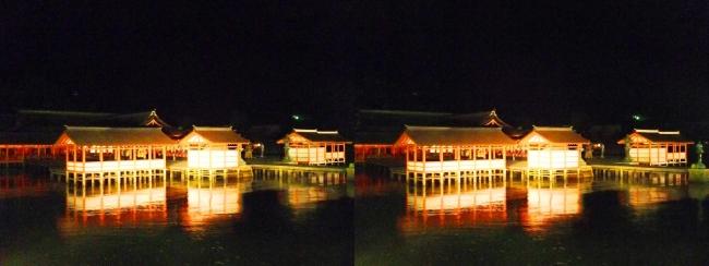 嚴島神社 夜のガイドウォーキング(交差法)