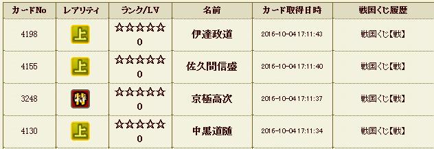 20161004171154戦国くじ履歴 - 戦国IXA