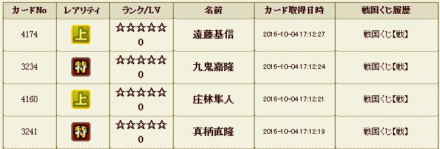20161004171247戦国くじ履歴 - 戦国IXA