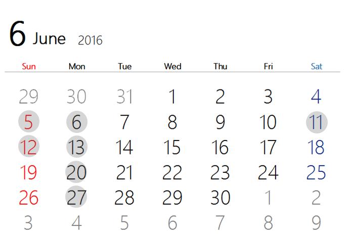 2016 6月カレンダー