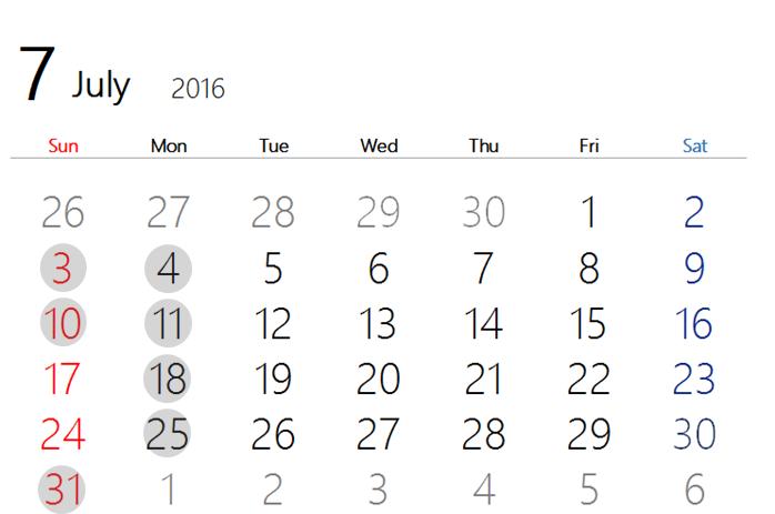 2016 7月カレンダー