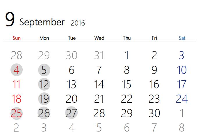 2016 9月カレンダー