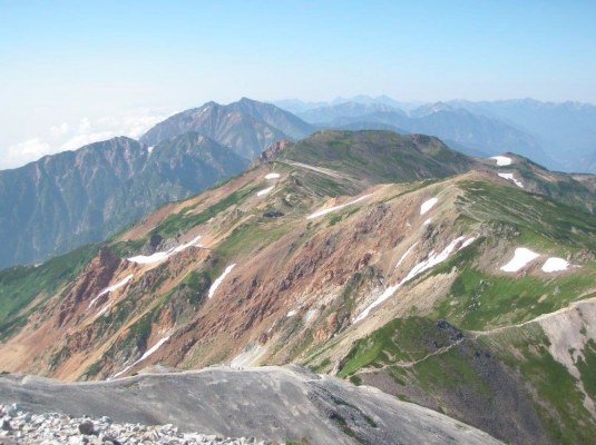 白馬鑓ヶ岳より鹿島槍ヶ岳を望む