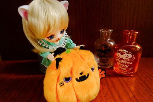 オビツ11ボディ、PARABOXヒカリちゃんヘッドをカスタムして作った猫っ子ポーをハロウィン仕様のねこだんごに会わせてみました
