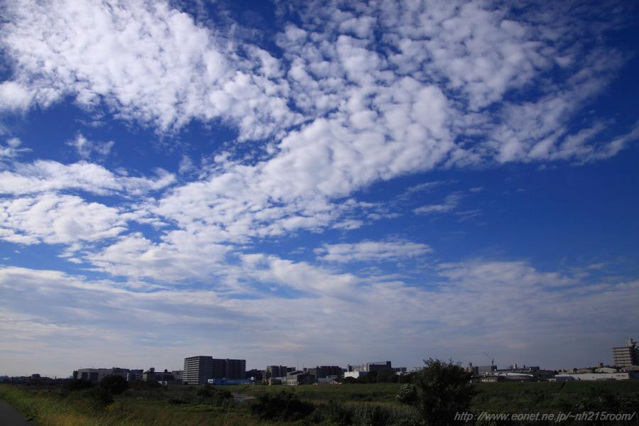 空港南西側・伊丹市街地方面の空@RWY14Rエンド・猪名川土手