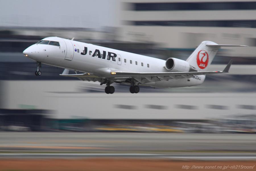 J-AIR CRJ-200ER / JA204J@RWY14Rエンド・猪名川土手