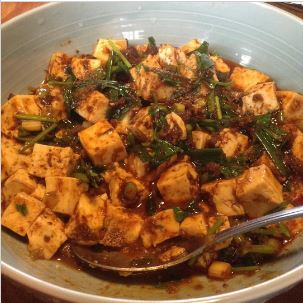 コリアンダーと麻婆豆腐