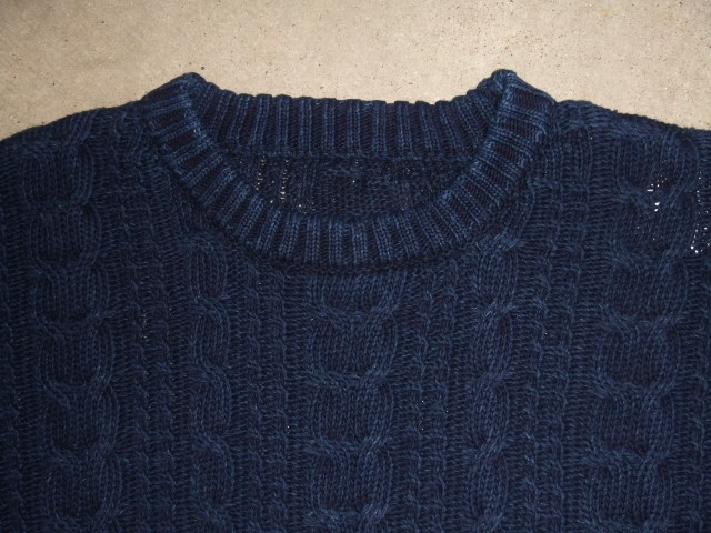 NORULE Cable cotton knit indigo1
