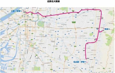 近鉄北大阪線路線図