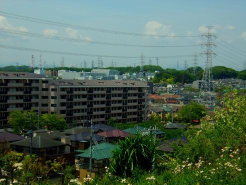 白鳥トンネルの上から見た鉄塔群@川崎市麻生区