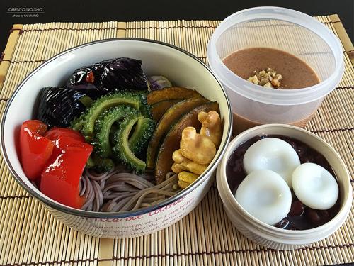 夏野菜の揚げ浸しと胡桃だれ蕎麦弁当01