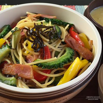 ベーコンと夏野菜の塩昆布パスタ弁当02