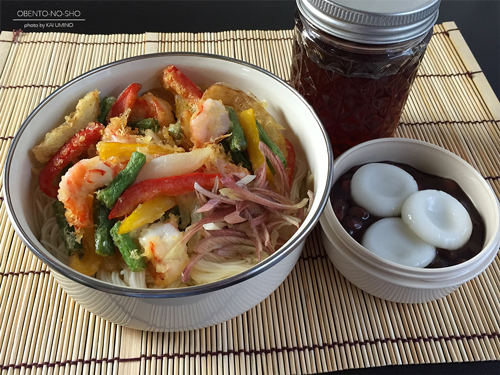 海老と夏野菜のかき揚げ素麺弁当01
