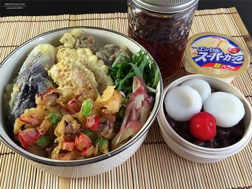 蛸と枝豆のかき揚げ素麺弁当01