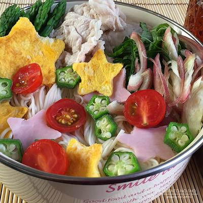 豚しゃぶの七夕素麺弁当02