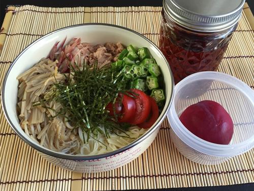 自家製なめたけ素麺弁当01