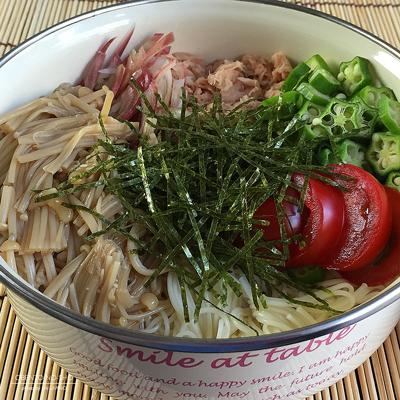 自家製なめたけ素麺弁当02