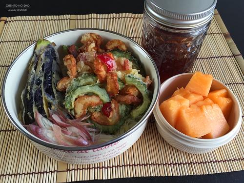 ゴーヤと竹輪のかき揚げ素麺弁当01