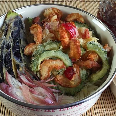 ゴーヤと竹輪のかき揚げ素麺弁当02