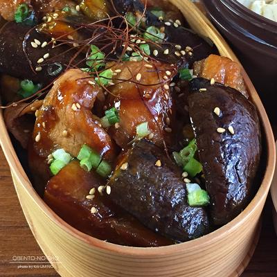 茄子と豚の甘辛丼弁当02