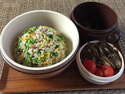 豆苗とツナの炒飯弁当01