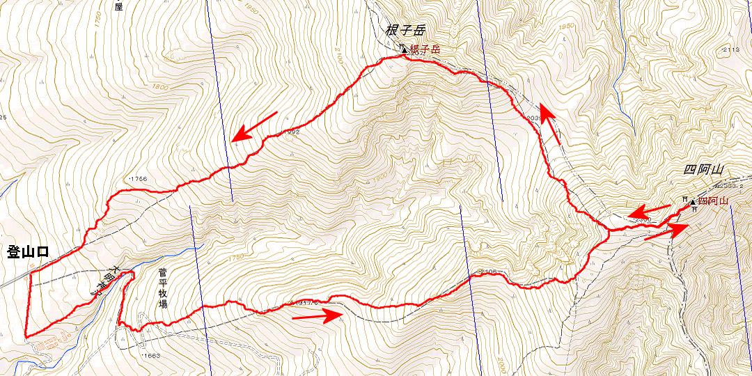 四阿山根子岳ルート画像