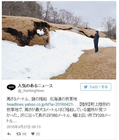 北海道の牧草地が「謎の隆起」 長さは約80メートル、高さ3メートル…原因わからず