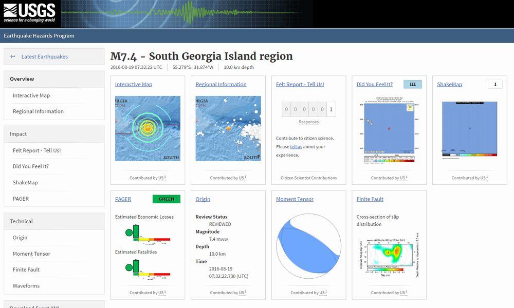 19日、南大西洋サウスジョージア島で「M7.4」の地震…同日、熊本で震度4、震度2は2回発生