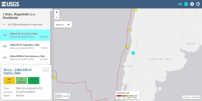 チリ中部で「M6.4」の地震が発生 震源深さは約90km
