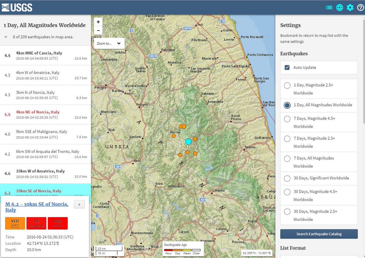イタリアで発生したM6.2の地震…震源深さが「4km」だった可能性も
