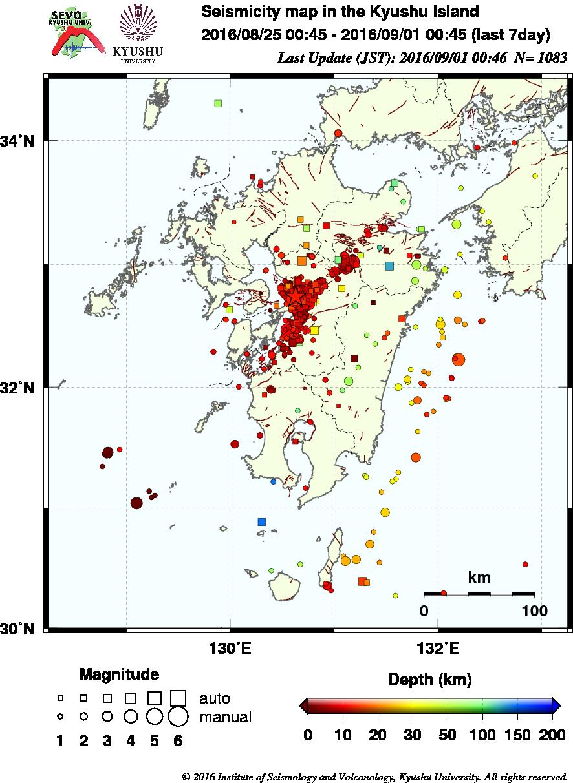 熊本震度5弱、M4.9からM5.2に修正…たった1週間でまだこんなにも「地震活動」があるんだが