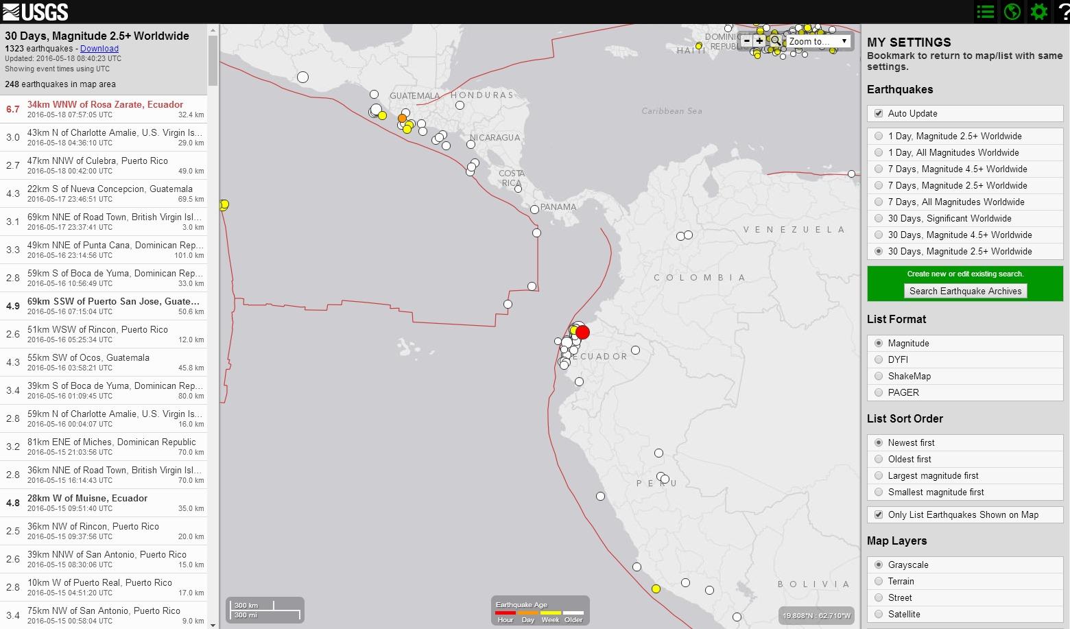 南米エクアドルでM6.7の大地震が発生…先月4月16日には「M7.8」その最大余震か