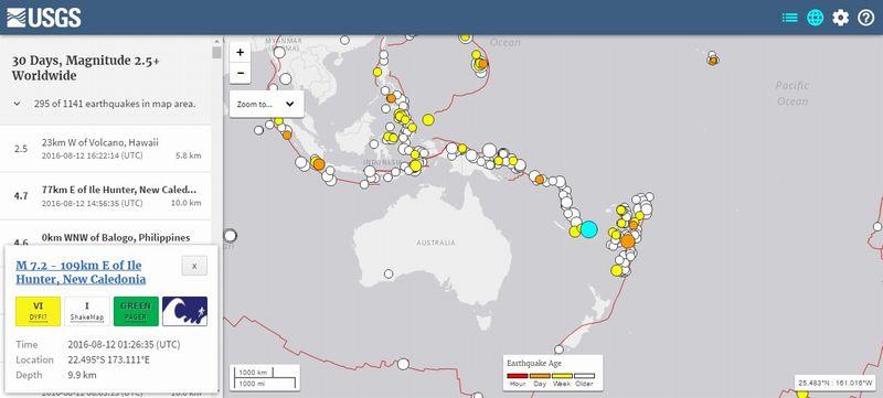 南太平洋ニューカレドニア付近で「M7.2」、フィジーでは「M6.1」の地震発生…カムチャツカでは一夜にかけ「10回」近くの地震が起きる