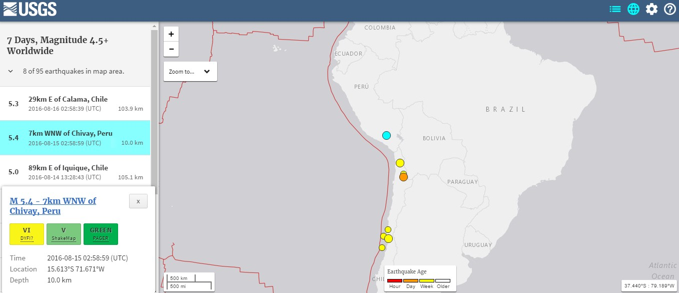 【直下地震】ペルー南部の山岳部でM5.4の地震が発生…50人以上が負傷