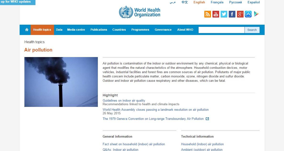 WHO「世界では90%の人が汚染された空気を吸って暮らしています」