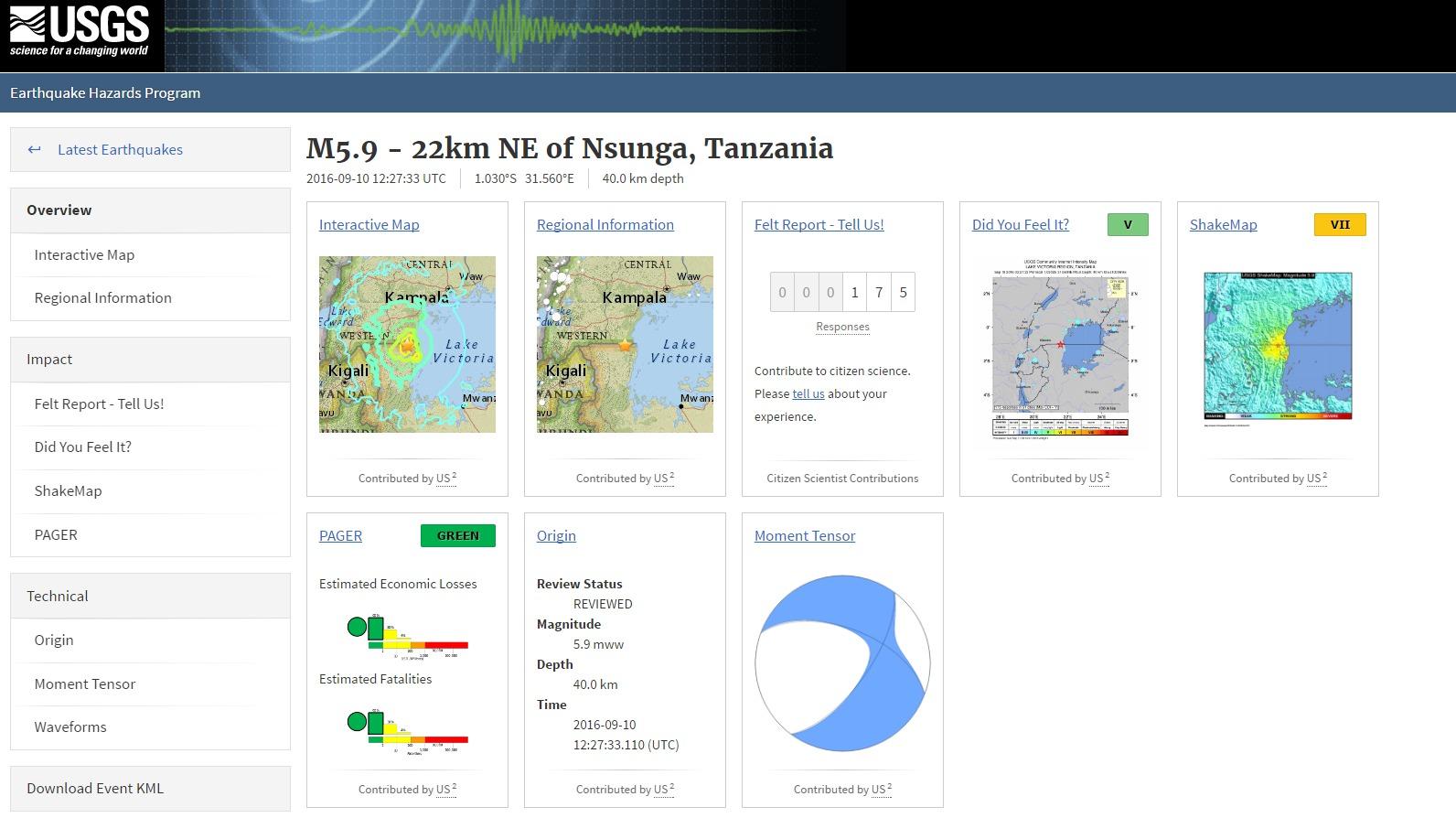 東アフリカのタンザニアで「M5.9」の強い地震が発生